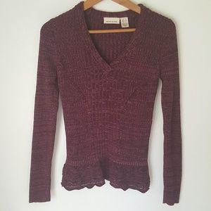 DKNY JEANS  V-neck Ribbed Knit Sweater